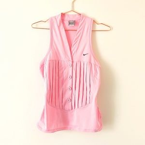Nike Dri-Fit pink button up workout vest top